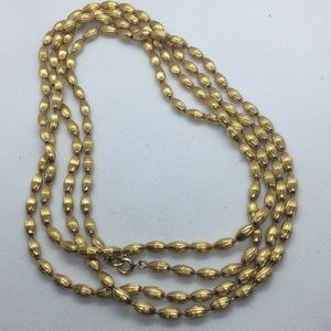 Vintage Gold Filled Textured Bead Necklace 28""